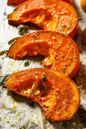 calabaza: Calabaza asada con hierbas aromáticas de adición, sal marina y aceite de oliva