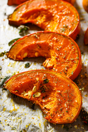 baked: Roasted pumpkin with addition aromatic herbs, sea salt and olive oil