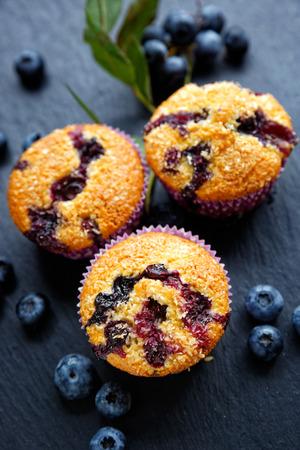 magdalenas: muffins de arándanos con adición de copos de coco. Postre delicioso Foto de archivo