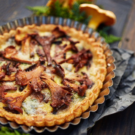chanterelle: Quiche with chanterelle mushrooms and fresh savory Stock Photo