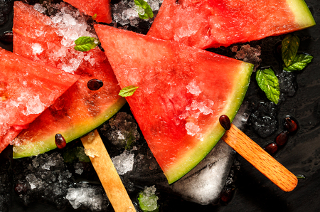popsicles: Frozen watermelon popsicles