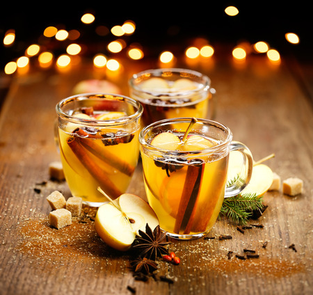 warm drink: Mulled cider with Addition of aromatic spices and citrus fruits Stock Photo