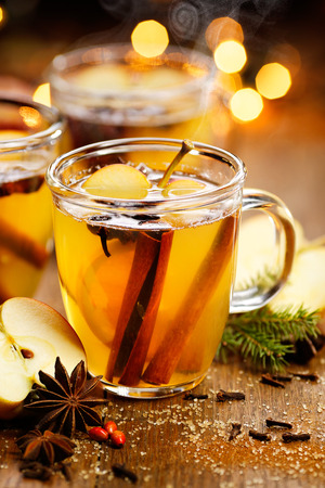 Mulled cider with cinnamon, anise, cloves and citrus
