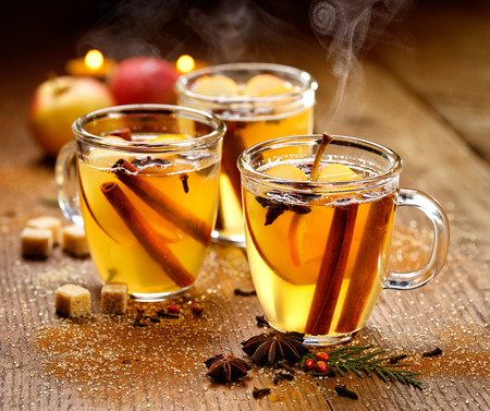 Mulled cider with aromatic spices and citrus fruits