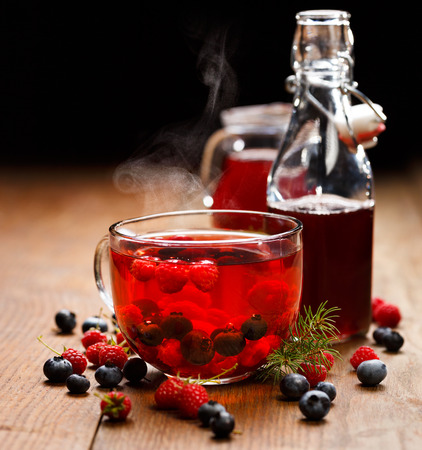 Blueberry and raspberry tea, warming and delicious Stock Photo