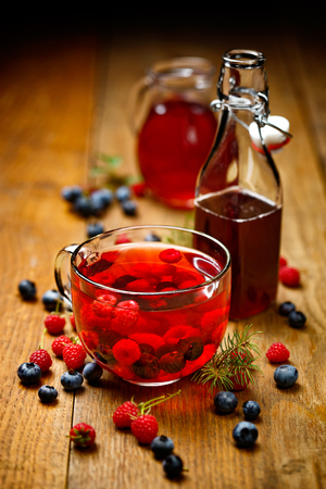 hot drink: Raspberry and blueberry tea, warming and delicious
