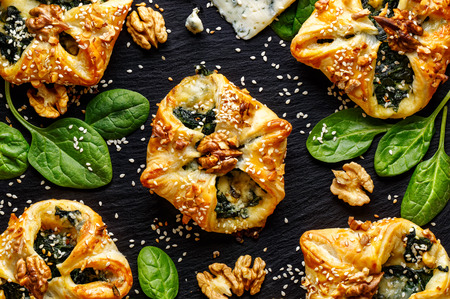 Puff pastry stuffed with spinach and Gorgonzola cheese