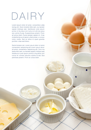 Dairy products on a white table Archivio Fotografico