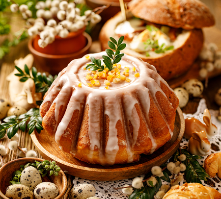Easter yeast cake with icing and candied orange peel, delicious Easter dessert, traditional Easter pastries in Poland Reklamní fotografie