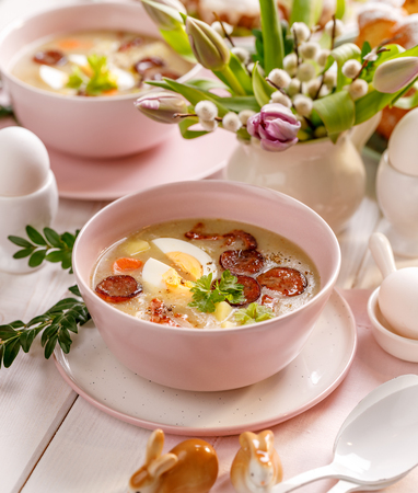 The sour soup, polish soup with smoked sausage. Traditional Easter dish in Poland