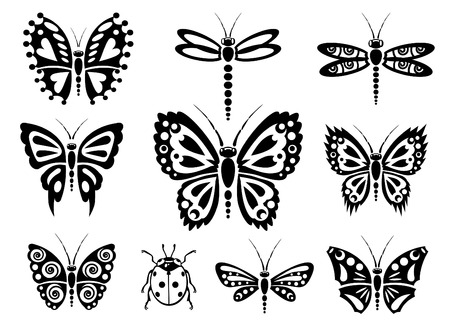 antenna dragonfly: Black and white butterfly silhouettes