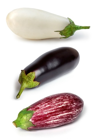 Set of eggplants – white, black and purple on a white background