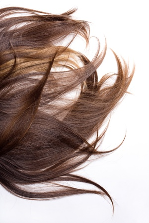 flaxen: Natural human hair on a white background
