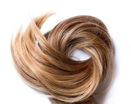 人間の髪の毛: 白い背景の上の自然の人間の毛髪 写真素材