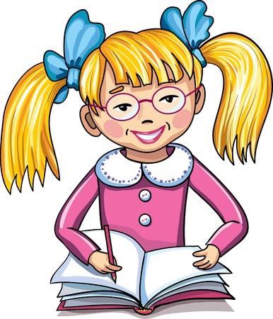 reading glass: Ni�a peque�a escuela con el cuaderno y la pluma