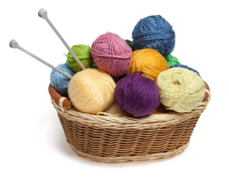 yarn: Knitting yarn balls and needles in basket on a white background