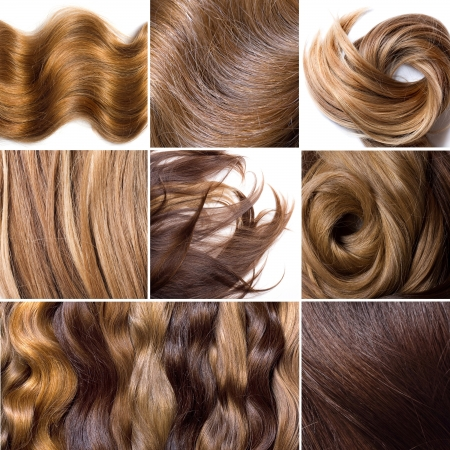 straight up: Collage from photos of natural human hair  Stock Photo