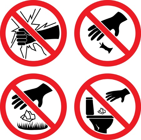 divieto: I segni non si rompono vetro, non venga disperso Vettoriali