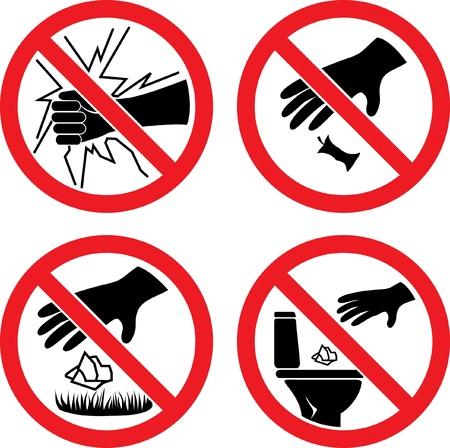 The signs  Do not break glass ,  Do not litter  Vector