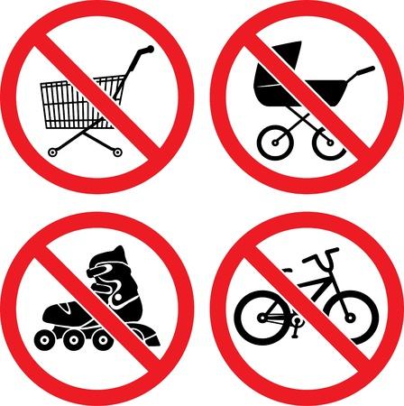 ない Roller-skate ない自転車に乗ることがない赤ん坊キャリッジ、ないショッピング カートにサイン ベクトルを禁止