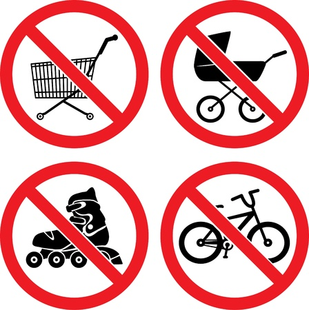 rollerskate: Forbidding Vector Signs  No Roller-skate ,  No Biking ,  No Baby Carriage  and  No Shopping Cart   Illustration