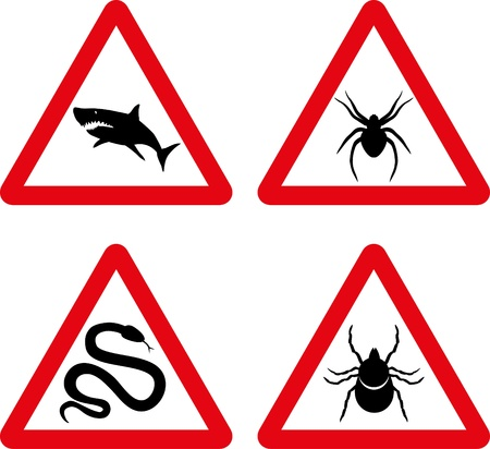 ticks: Vector tick, snake, shark and spider warning signs