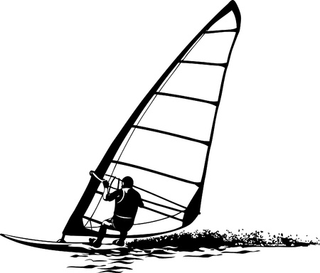 sailboard: silhouette of windsurfer on gliding