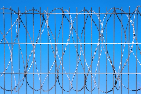 razor wire: Barbed wire against the blue sky