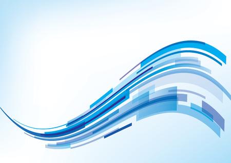 抽象的な青い波 - 背景デザイン