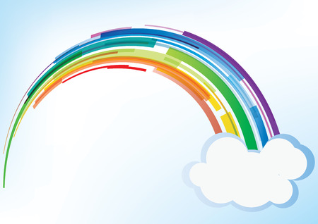 Rainbow with cloud - vector background