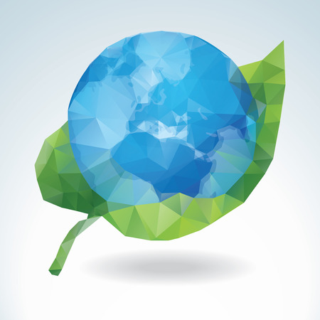 Vector Earth with green leaf - polygonal art Vector