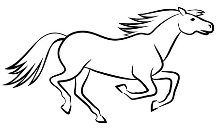 Running horse outline - vector illustration Vector