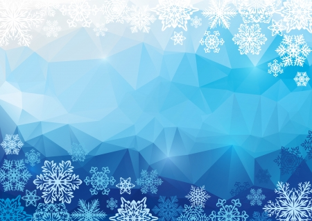 Blue abstract polygonal background with snowflakes