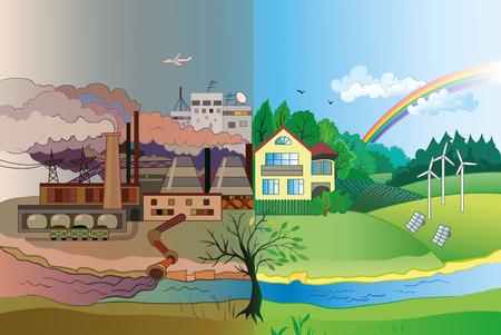 Ecología Concepto vectorial: urbana y paisaje de la aldea. La contaminación ambiental y la protección del medio ambiente. Ilustración de vector