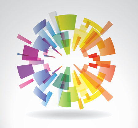 rainbow sphere: Abstract vector sphere from multi-colored elements Illustration