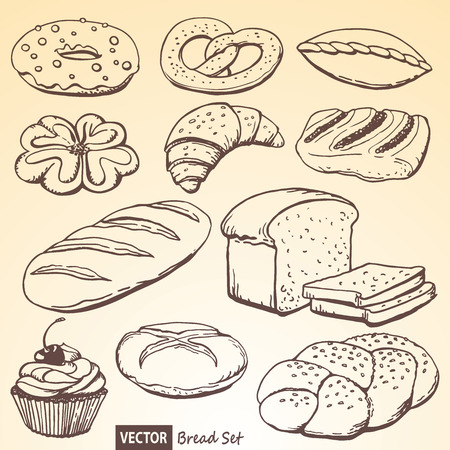 The set of vector bread and rolls based on a hand drawn illustration Illustration