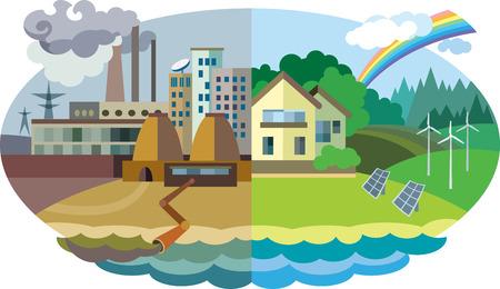 フラットなデザイン ベクトル概念図: 都市および村の風景。環境汚染と環境保全