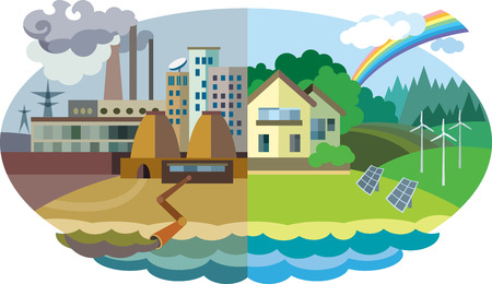Piatto disegno illustrazione vettoriale concetto: paesaggio urbano e il villaggio. L'inquinamento ambientale e la protezione dell'ambiente Vettoriali