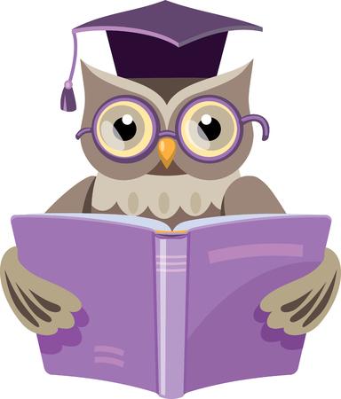 lechuza en el casquillo del graduado con el libro abierto