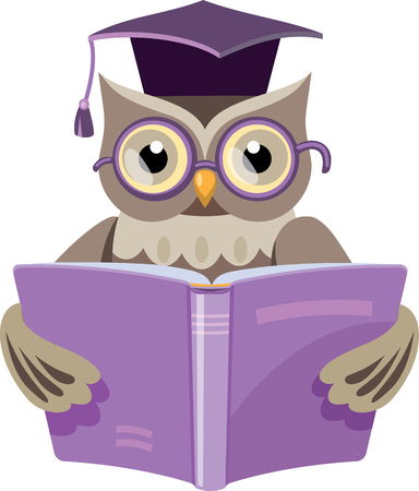 owl in the graduates cap with the open book Ilustracja