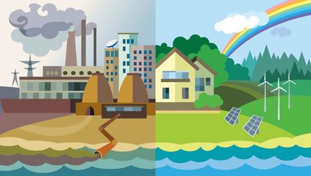 Квартира дизайн вектор иллюстрации концепции: городской пейзаж и деревни. Загрязнение окружающей среды и охраны окружающей среды Иллюстрация