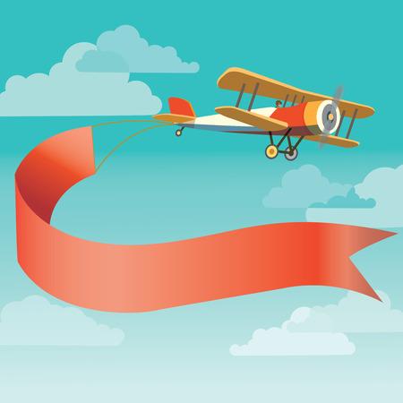 Vector afbeelding van vintage vliegtuig met banner in de lucht Stockfoto - 48833476