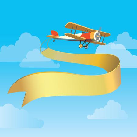 mosca caricatura: Vector de imagen de plano de la vendimia con la bandera en el cielo