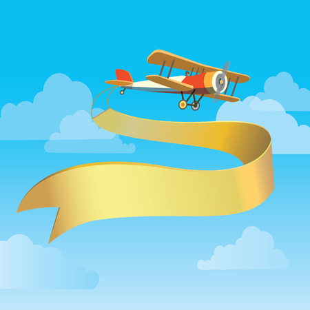 fly cartoon: Vector image of vintage plane with banner in the sky