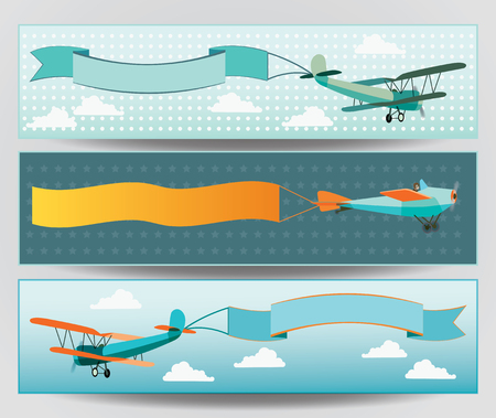 advertising design: flying airplanes with empty banners - banners design set
