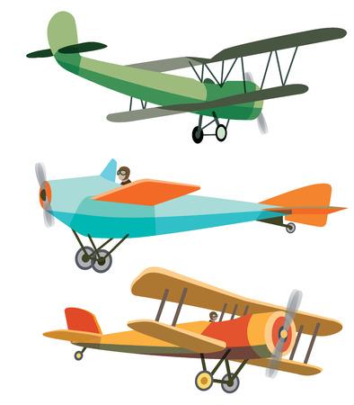 ベクトルのレトロな飛行機のセット