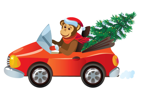 winter car: cartoon monkey in the car with a New Year tree