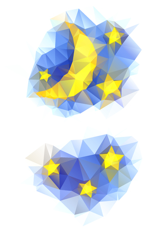 good evening: vector polygonal set with moon and stars Illustration