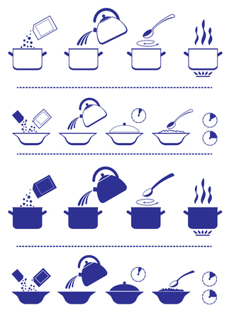 instruction: Infographic for manuals on a packing. Illustration