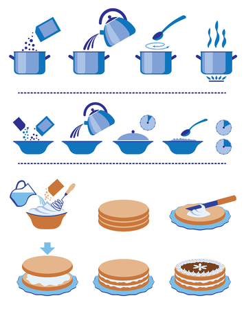 pots: Infographic for manuals on a packing. Illustration
